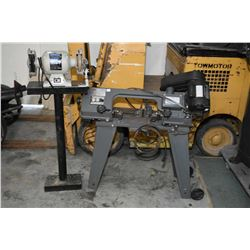 "Durex 4 1/2"" metal cutting band saw and a Shopmate 6"" bench grinder on stand"