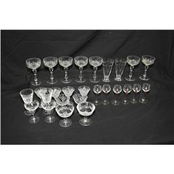 Two tray lots of quality crystal stemware including unmarked crystal, signed Waterford, and glass ap