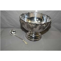 "Silver plate grape and vine decorated punch bowl, 11"" in height and 15"" in diameter and a matching p"