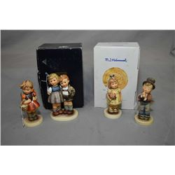 "Four Hummel/Goebel figurines including ""From My Garden"", ""The Little Pair"" with original boxes and S"