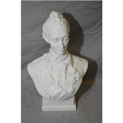 "Glazed porcelain bust of 18th century Russian military leader Alexander Suvorov, 12"" in height"