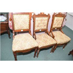 Pair of antique Eastlake button tufted chairs plus a similar but mismatched upholstered chair