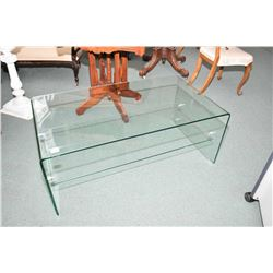 Quality designer curved glass coffee table with under shelf