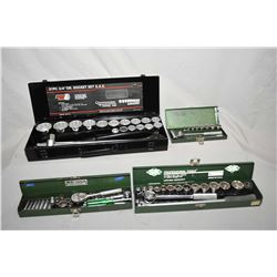 "Four cased socket sets including 3/4"" drive, 1/2"" drive. 3/8"" drive and 1/4"""