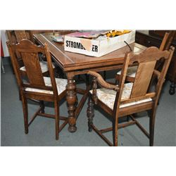 Antique oak dining suite including draw leaf table and six chairs including a carver