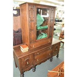 Oak sideboard to match lot 420 with added oak china cabinet display, note two pieces