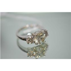 Ladies 14kt white gold and diamond ring set with large 2.50ct brilliant cut round center diamond and