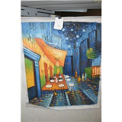 "Five unframed acrylic on canvas paintings including an outdoor cafe at night, signed by artist 24"" X"