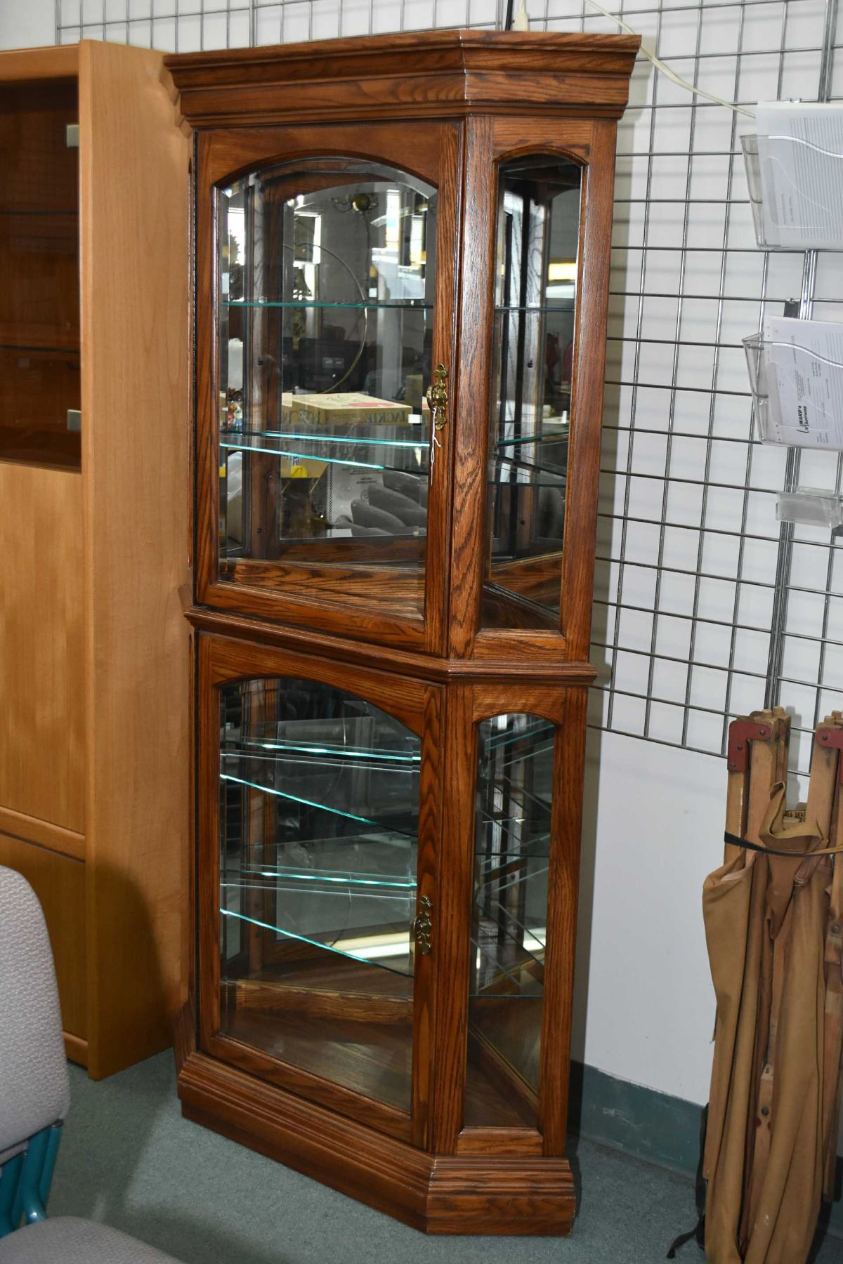 Modern Oak Two Door Corner Display Cabinet With Glass Shelves And