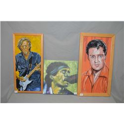 Three framed prints including Elvis Presley and Eric Clapton and a framed Bob Marley print