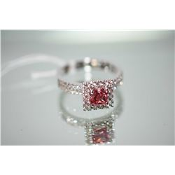 Ladies 18kt white gold and diamond ring set with1.00ct radiant cut fancy dark pink center diamond an