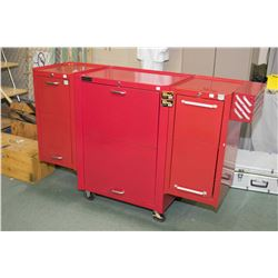 Large locking roller cabinet ( with key) and side attachments plus contents including wrenches, sock