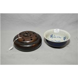 Heavy copper incense burner with cover and a crackle glazed 19th century blue and white bowl