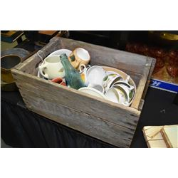 Wooden produced box and selection of collectibles including Simpson's Pottery cups and saucers, Meda