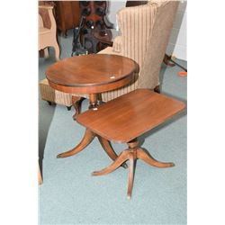 Two center pedestal mid 20th century occasional tables
