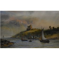 Original 19th century watercolour painting of a Scottish coastal scene by English painter Robert Coo