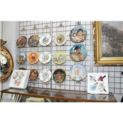 Large selection of collector's plates including Inuit portraits, Norman Rockwell etc. plus angel and