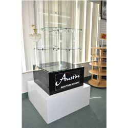 Multi tier glass and block retail display with Austin Sculpture Gallery acrylic label