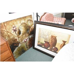 "Two hanging decor pictures including ""Conservatory Gardens"" stretcher framed mixed media print and """