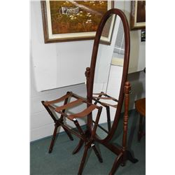 Bamboo motif luggage rack and a floor standing cheval mirror