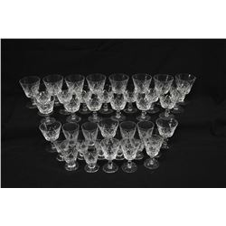 Large selection of signed Stuart crystal stemware including twelve red wine, twelve white wine, twel