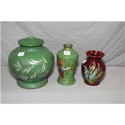 "Three pieces of cold painted Medalta pottery including an 8"" high lamp base, small bedside lamp base"