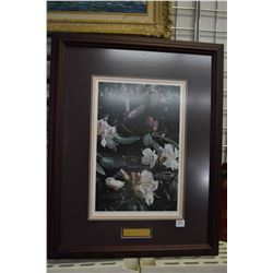"Framed limited edition print ""Tasting Spring-Anna's Hummingbird"" pencil signed by artist T. Issac, 5"