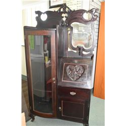 Canadiana style curved glass side by side drop front secretaire with beveled mirror