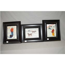 "Three framed original pieces of wall art including ""Look both ways first"", ""Come play with me"" and s"
