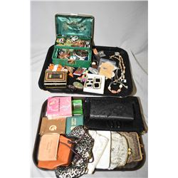 Jewellery box and contents including brooches, rings, necklaces, bracelets, bangles etc plus a ladie