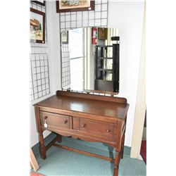 English quarter cut oak, two drawer mirrored vanity