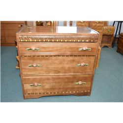 Three drawer art deco low boy with original decorative finish and pulls