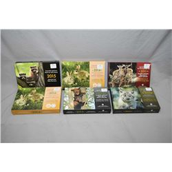 Six Royal Canadian Mint new in box specimen coin sets including 2010 Young Wildlife series Linx, 201