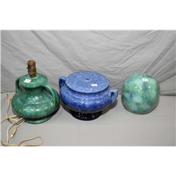 Three Medalta glazed pottery lamp bases including cobalt No. 20 etc.