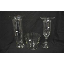 "Three pieces of colourless handmade Polish glassware including 23"" footed glass vase, 24"" cylinder v"