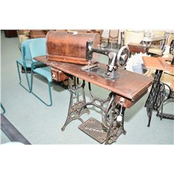 "Antique treadle ""New Williams"" sewing machine in wooden case"