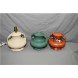 Three Medalta glazed pottery lamp bases, all No. 16