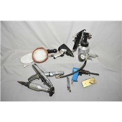 Selection of air tools including paint sprayer, metal cutting tools, nibbler, air saw, grinder, orbi