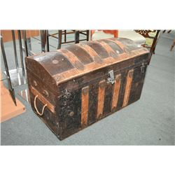 Antique dome top metal and oak bound trunk