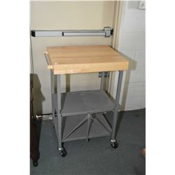 Modern interesting simulated butcher's block cart with folding base