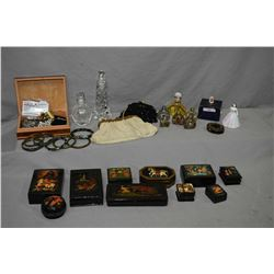 Selection of vanity collectibles including Russian papier mache boxes, perfume bottles, Royal Crown