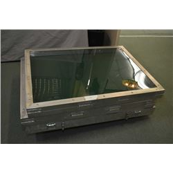 "Three aluminium display cases with Plexiglas tops, 36"" X 48"" X 4"""