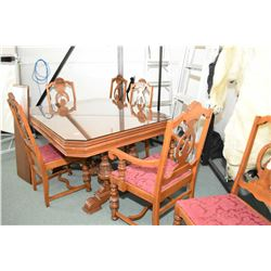 Antique walnut refractory style dining table with insert leaf and five chairs including on carver, n