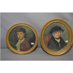 "Gilt framed original portrait painting featuring John Stanislaus Townshend 7 1/2"" round and portrait"