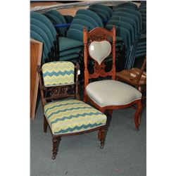 Two antique side chairs including a Victorian slipper chair and a heart back chair, both with ornate