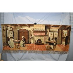 "Vintage tapestry with hanger, 66"" X 26"""
