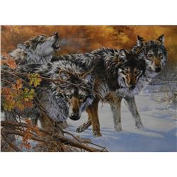 Framed giclee of wolves by artist Kromschroedes (?) and a framed limited edition print of a winter v