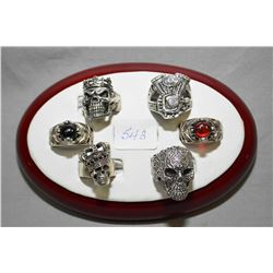 Tray lot of gent's .925 sterling silver rings including skulls, motorcycle engine motif, gemstone se