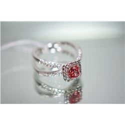 Ladies 18kt white gold and diamond ring set with 1.00ct radiant cut pink diamond and 0.62ct of brill