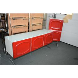 Two pieces of red and white retro bedroom furniture, both fitted with drawers behind doors on chrome